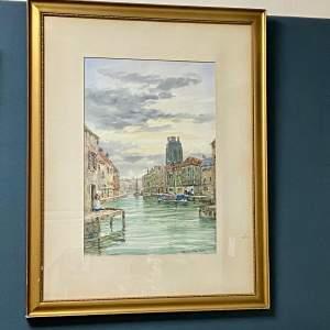 Early 20th Century John Hamilton Watercolour of a Canal Scene