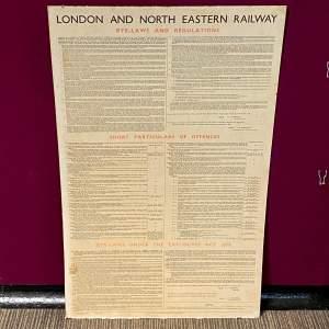 LNER Bye Laws and Regulations October 1936 Sign