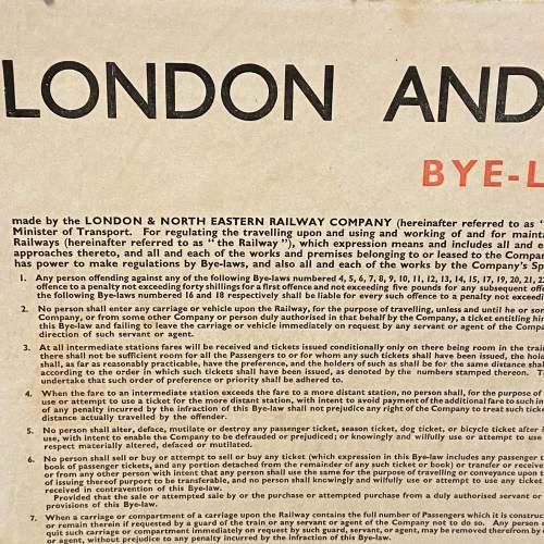 LNER Bye Laws and Regulations October 1936 Sign image-2