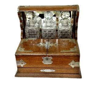 George V Oak and Silver Plate Three Bottle Tantalus