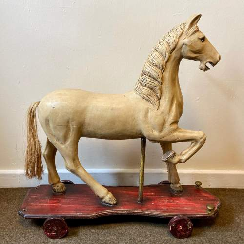 Victorian Childs Horse Toy on Wheels image-1