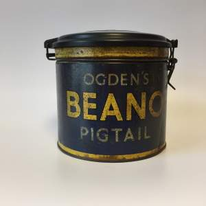 Rare Ogdens Beano Pigtails Cigar Tin with Bakelite Lid