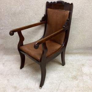 Regency Period Leather Library Chair