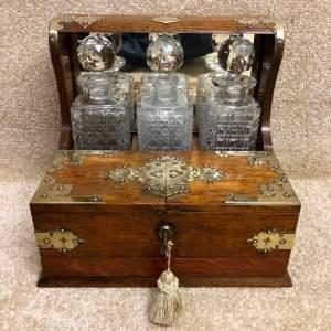 Victorian Oak Framed Brass Mounted Games Tantalus