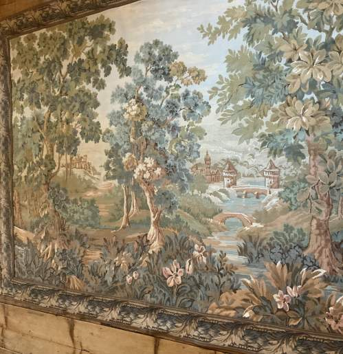 Old Flemish Tapestry Wall Hanging With Foliage Border image-1