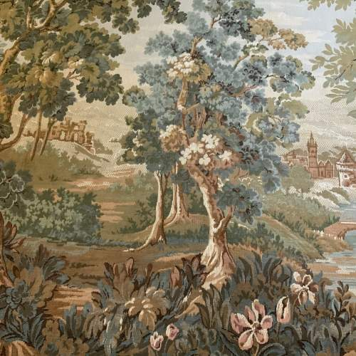 Old Flemish Tapestry Wall Hanging With Foliage Border image-2