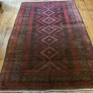Superb Old Hand Knotted Afghan Rug With Several Abrash Wonderful