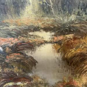 Superb Oil On Canvas Woodland Scene Signed Melin