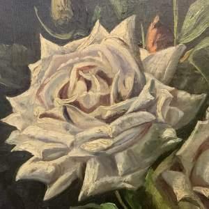 Stunning Signed Oil On Canvas Still Life Vase Of Roses Circa 1930s