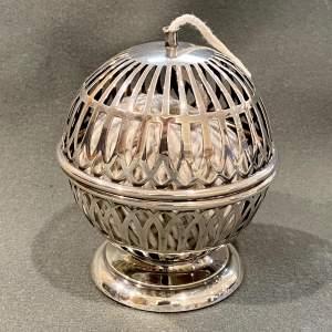 Edwardian Period Silver String Ball Holder