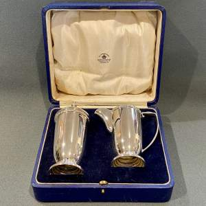 Art Deco Mappin and Webb Boxed Silver Sugar Caster and Cream Jug