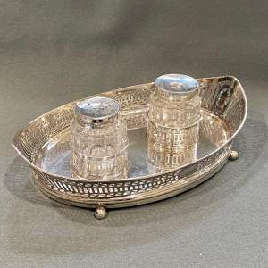 George III Silver Deskstand with Inkwell and Pounce Pot