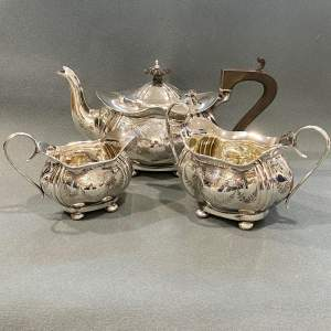 George V Joseph Gloster Three Piece Silver Teaset