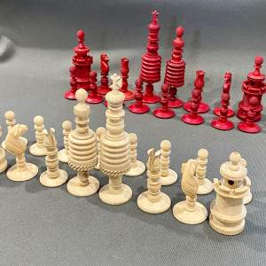Victorian Carved Bone Chess Set