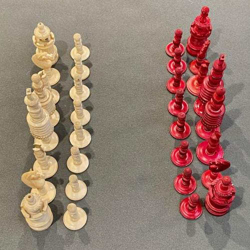 Victorian Carved Bone Chess Set image-2