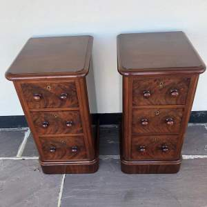Pair of Flame Mahogany Bedside Drawers