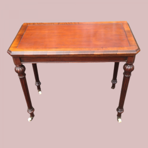 Victorian Mahogany And Rosewood Games Table On on Castors