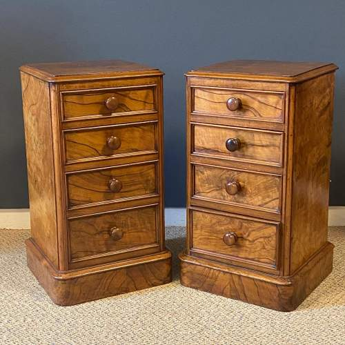 Pair of Victorian Burr Walnut Bedside Cabinets image-1