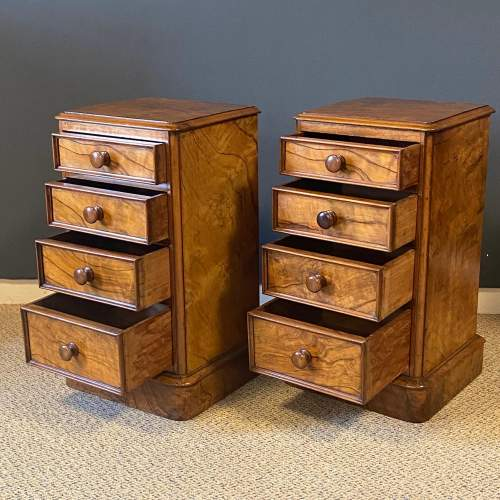 Pair of Victorian Burr Walnut Bedside Cabinets image-3