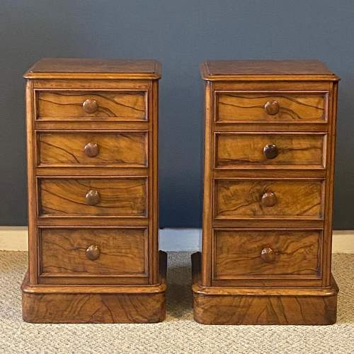 Pair of Victorian Burr Walnut Bedside Cabinets image-4