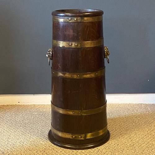 Oak Coopered Brass Bound Sticks Stand image-1
