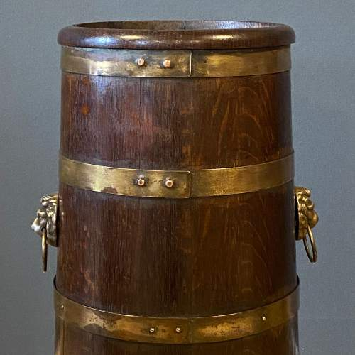 Oak Coopered Brass Bound Sticks Stand image-2