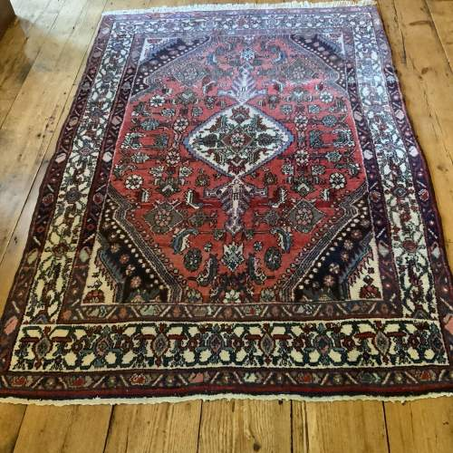 Old Hand Knotted Persian Rug Hamadan Lovely Central Medallion image-1