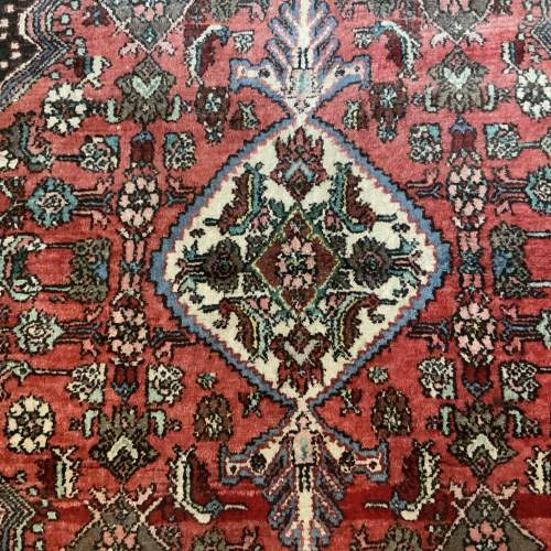 Old Hand Knotted Persian Rug Hamadan Lovely Central Medallion image-2