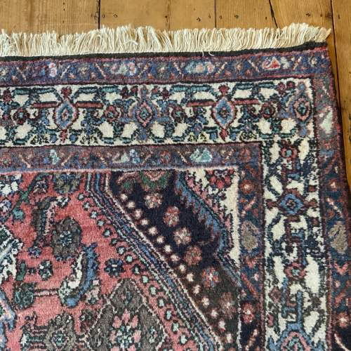 Old Hand Knotted Persian Rug Hamadan Lovely Central Medallion image-5