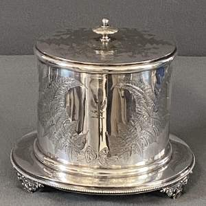Victorian Silver Plated Biscuit Barrel with Fern Decoration