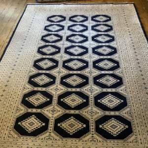 Stunning Hand Knotted Kashmir Rug Repeating Medallion Design