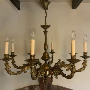 Large French Ornate Brass Eight Branch Chandelier