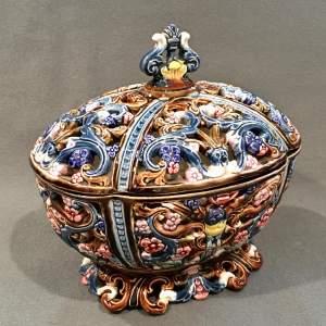 Majolica Potpourri Bowl