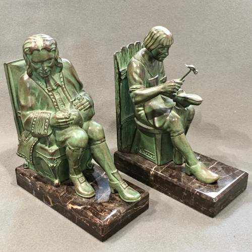 Pair of Max Le Verrier Bronze Bookends image-1