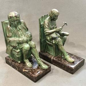 Pair of Max Le Verrier Bronze Bookends