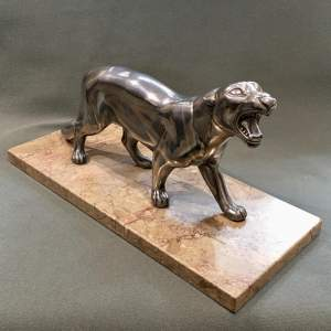 1930s Art Deco Spelter Panther Statue on a Marble Base