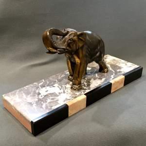 Art Deco Spelter Elephant on a Marble Base