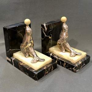 Pair of Polished Spelter Sea Lion Bookends