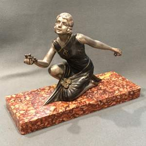 Art Deco Spelter Lady on a Marble Base