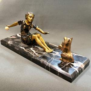 Art Deco Bronze of a Woman and a Dog