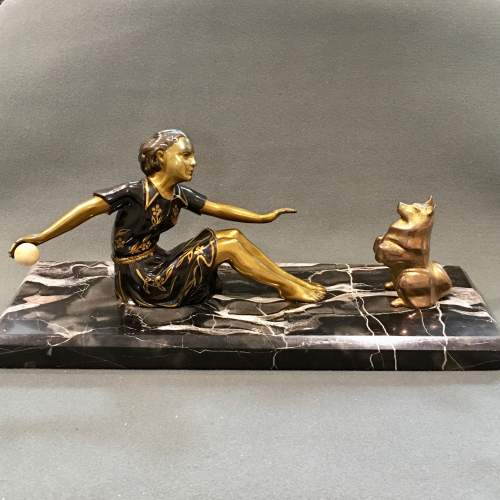 Art Deco Bronze of a Woman and a Dog image-2