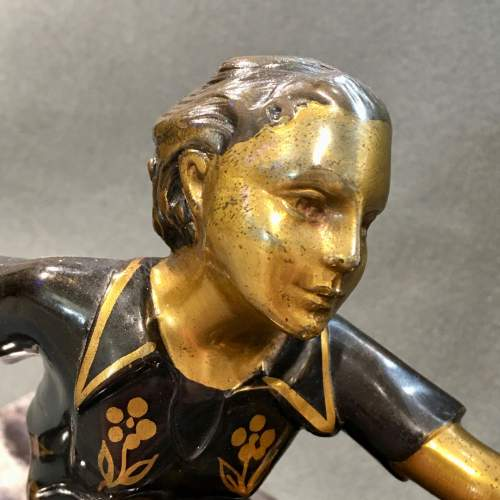 Art Deco Bronze of a Woman and a Dog image-4