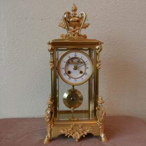 French Four Glass Clock with 8-day Striking Movement