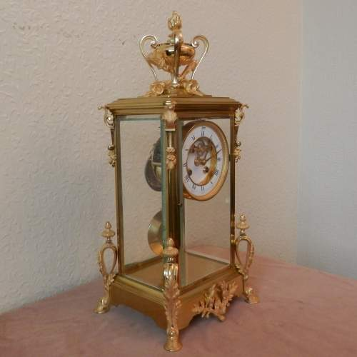 French Four Glass Clock with 8-day Striking Movement image-3