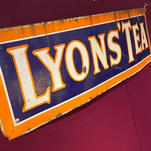 Large Vintage Lyons Tea Enamel Advertising Sign image-1