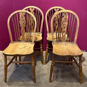 Set of Four 19th Century Country Wheelback Chairs