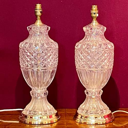 Pair of Hollywood Regency Glass and Brass Table Lamps image-1