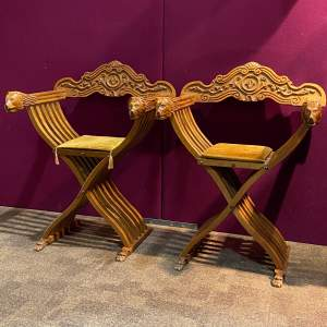 Pair of Early 20th Century Carved X-Framed Chairs