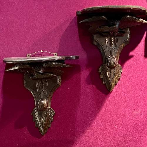 Pair of 19th Century Ebonised and Carved Wood Eagle Wall Brackets image-1