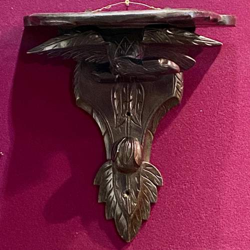 Pair of 19th Century Ebonised and Carved Wood Eagle Wall Brackets image-2